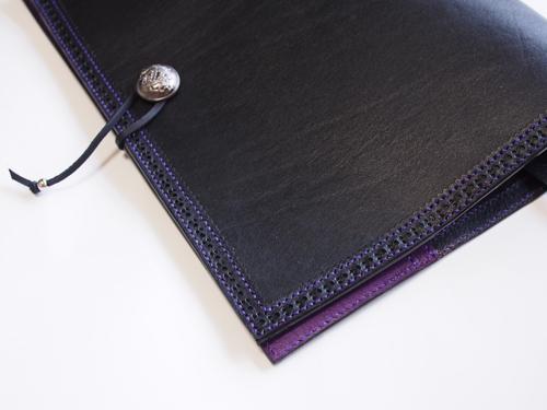 紫ステッチのB5、台本カバー2